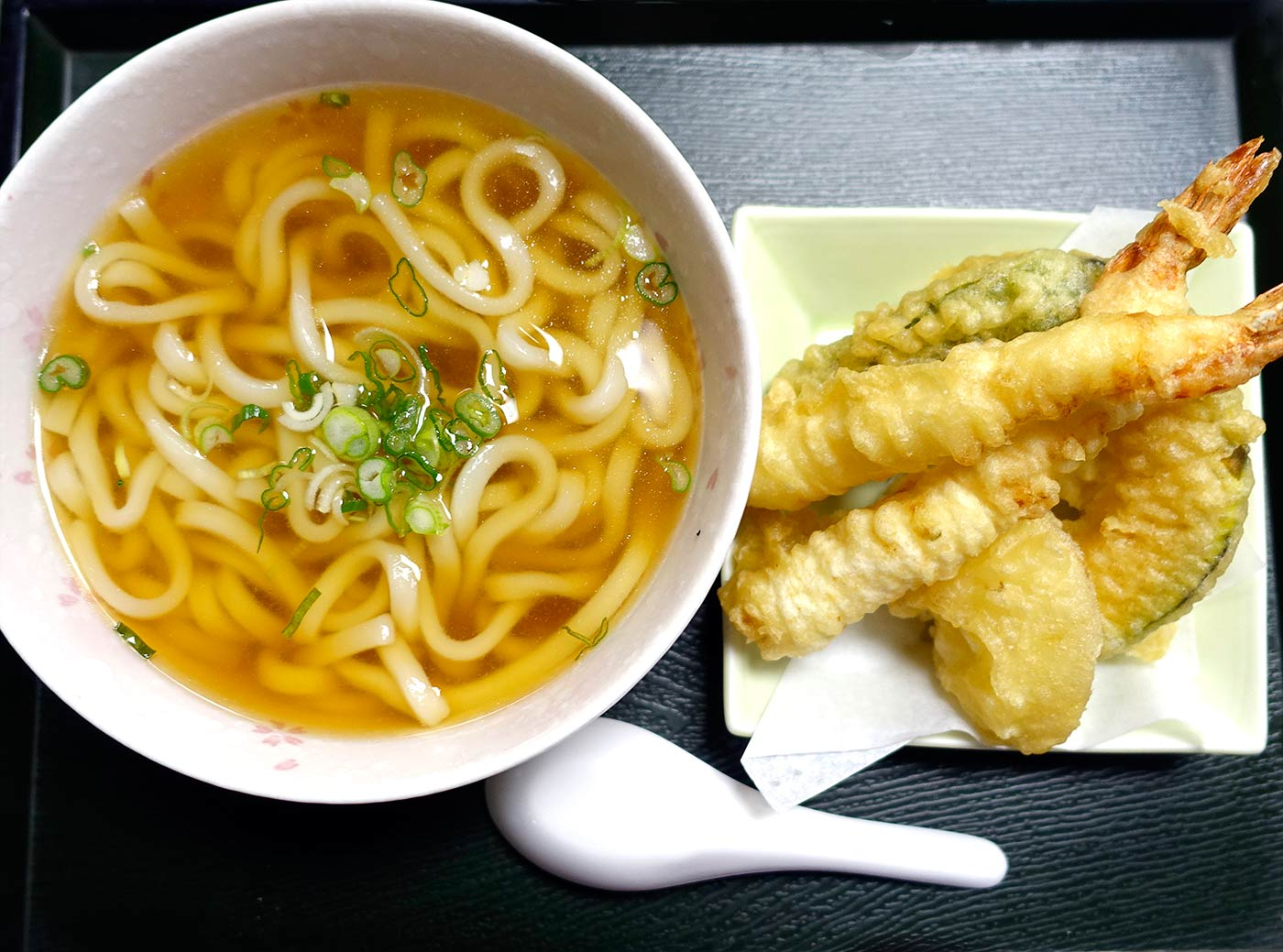 udon soup + shrimp tempura