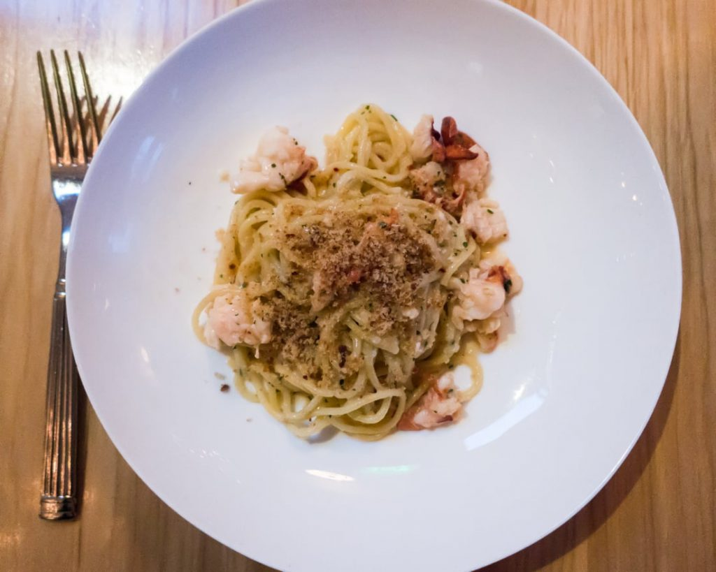 Spaghetti with Poached Maine Lobster at The Mercantile