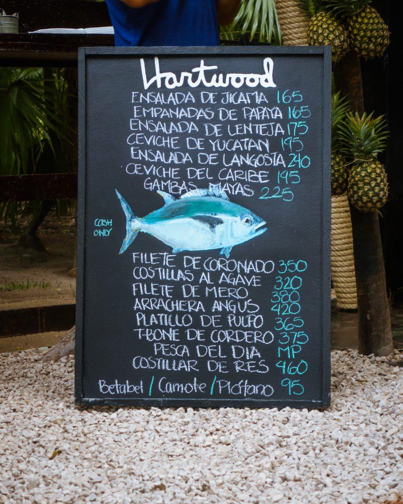 Hartwood menu