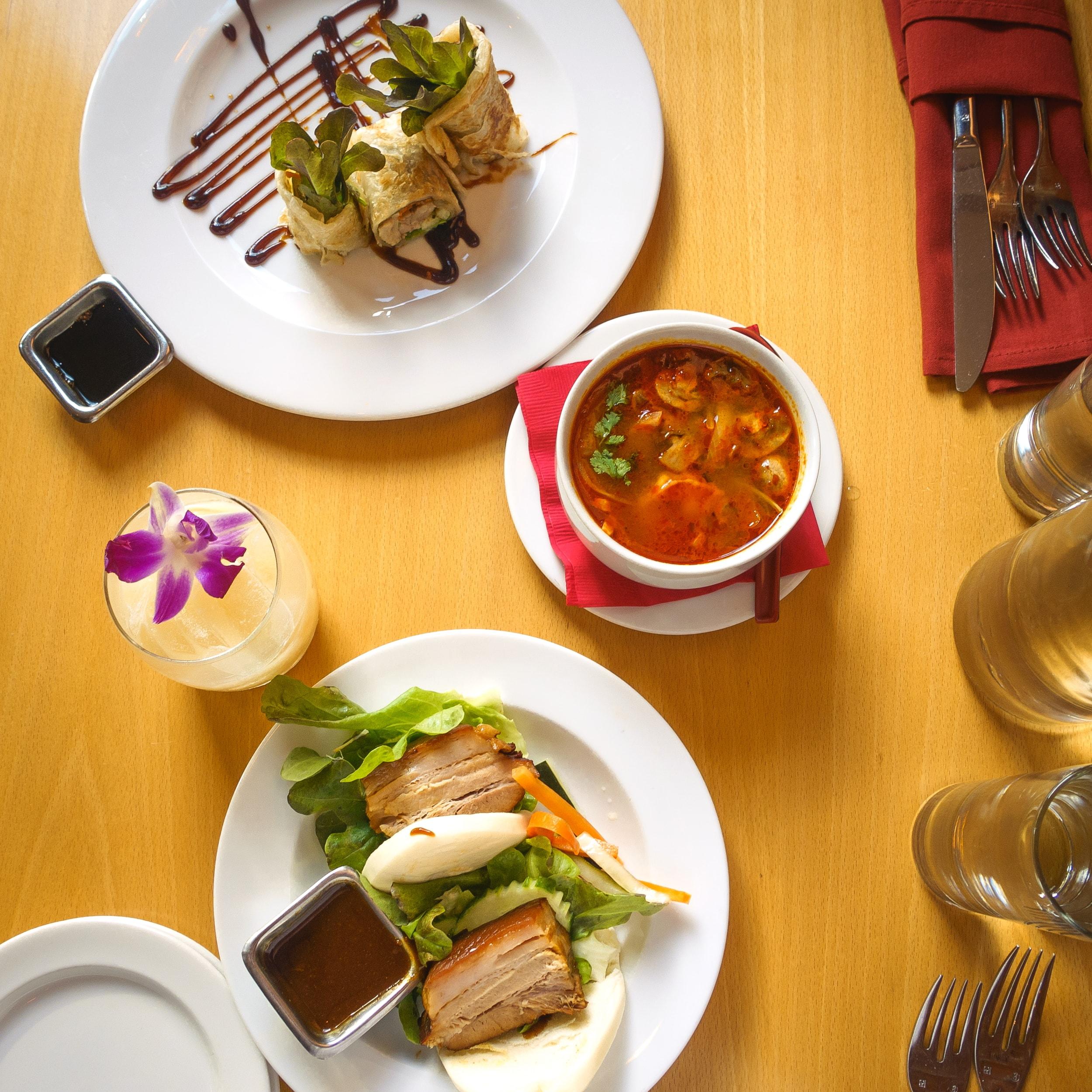 Aly Modern Thai's Belly Bun, Duck Roll, Tom Yum Soup