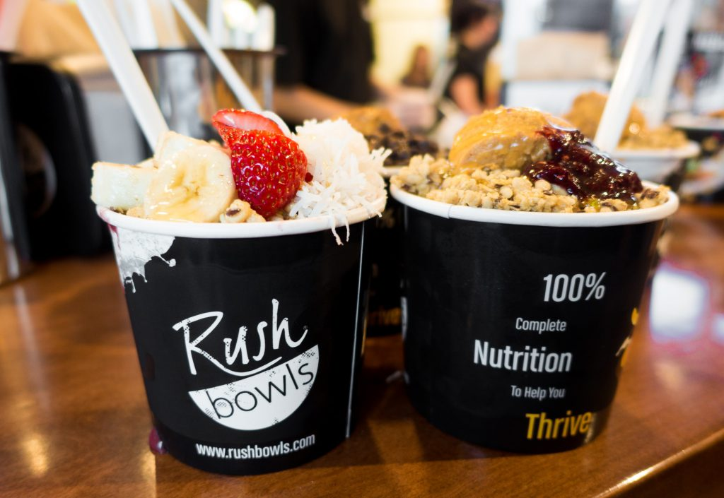 Beach and Peanut Butter & Jelly bowls from Rush Bowls