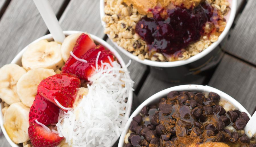 Beach, Peanut Butter & Jelly, and Chai's Mystique bowls from Rush Bowls