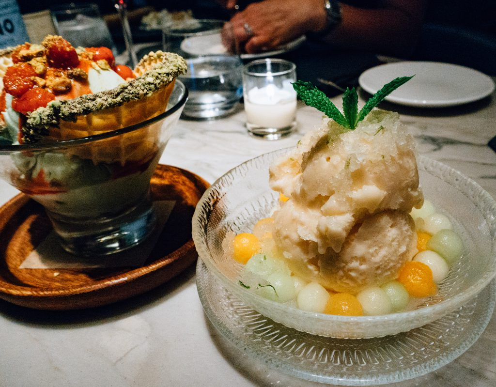 Cantaloupe Sherbert dessert at Quality Italian