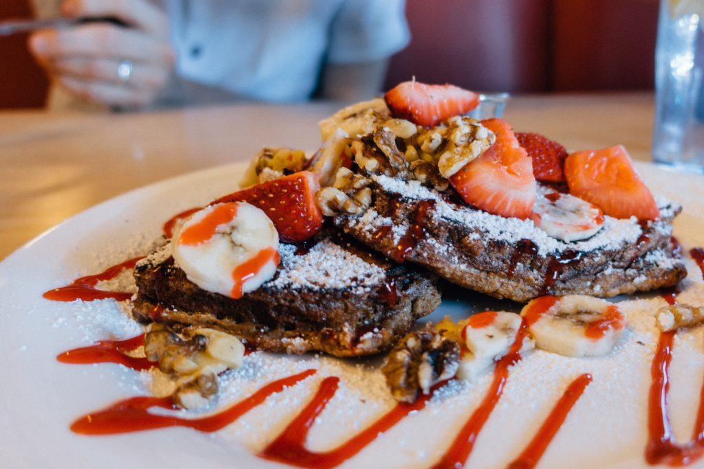 Banana Strawberry Walnut French Toast at Red Rock Cafe