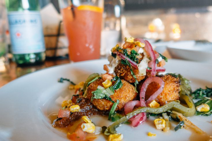 Corn Crusted Scallops at Elote