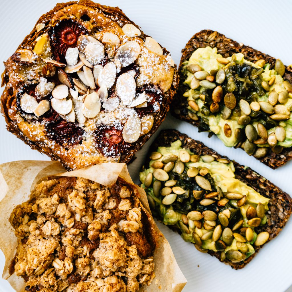 Bostock, banana walnut muffin, avocado toast from Tartine Manufactory