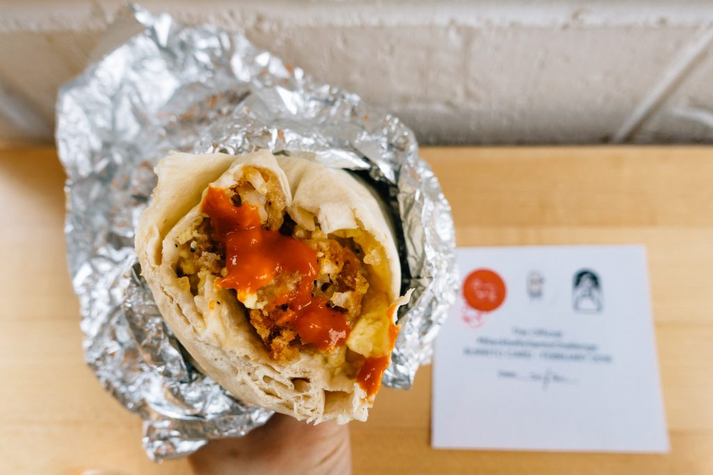 Blackbelly burrito with challenge card