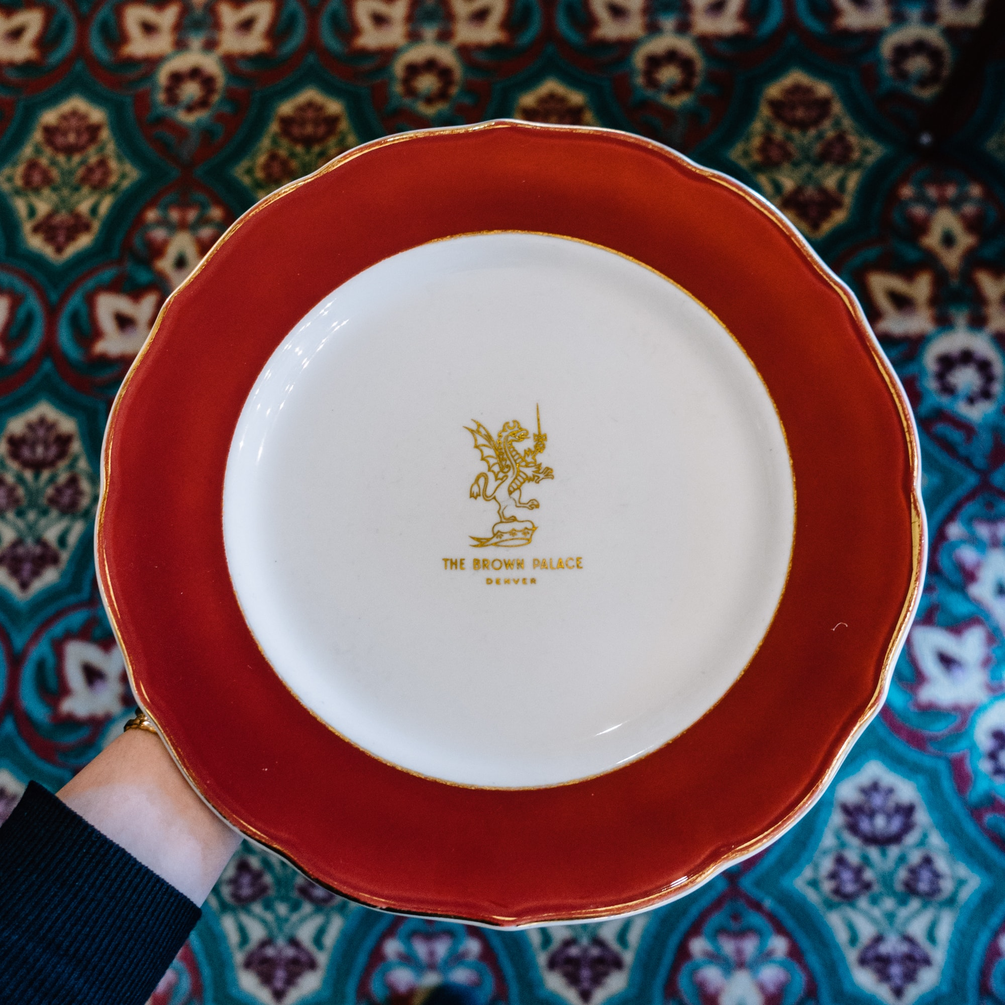 Monogrammed Brown Palace plate