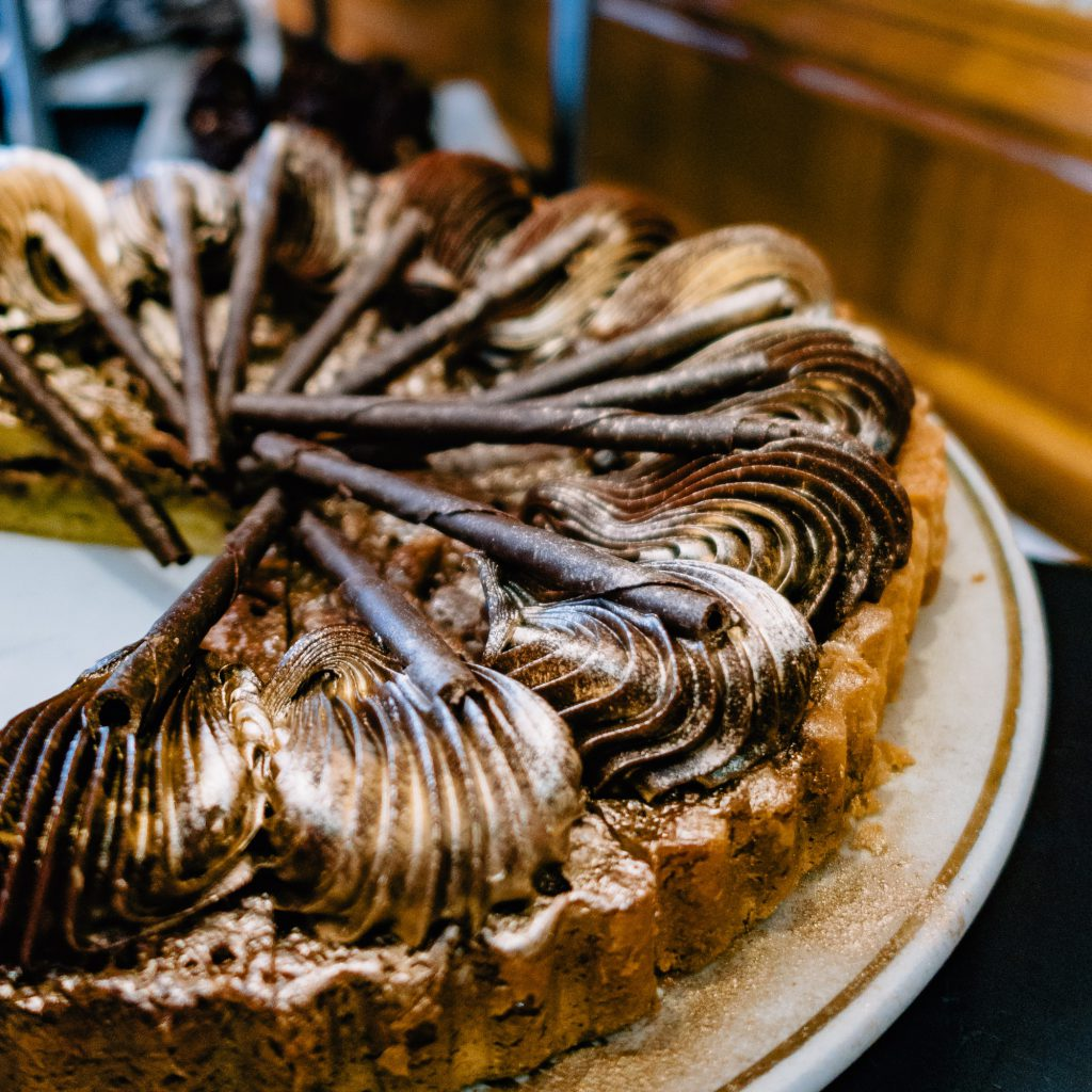 Gold-flecked chocolate tart