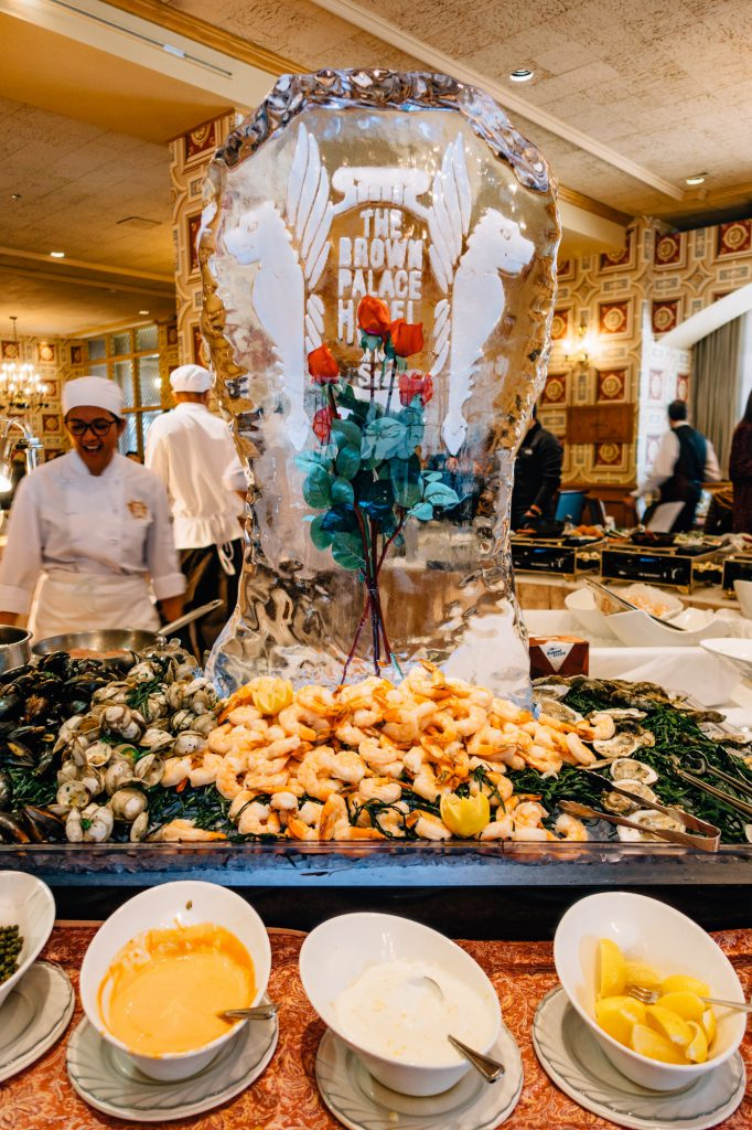 Ice sculpture at the Brown Palace Sunday brunch
