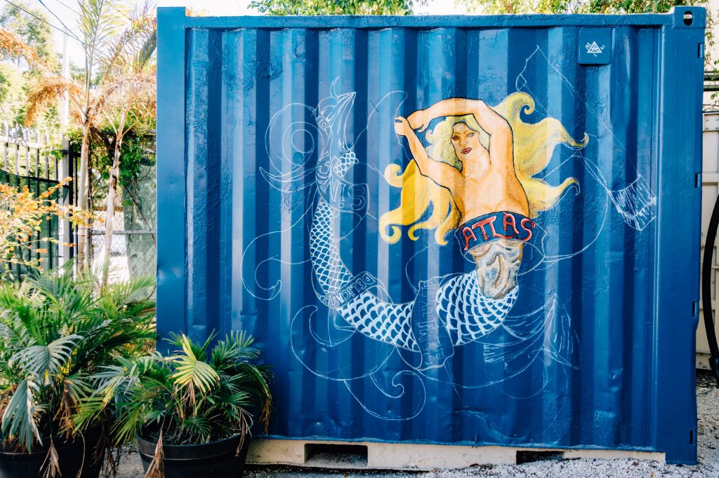 Atlas shipping container with mermaid mural