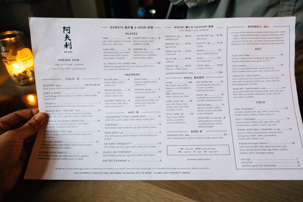 Afuri Portland menu
