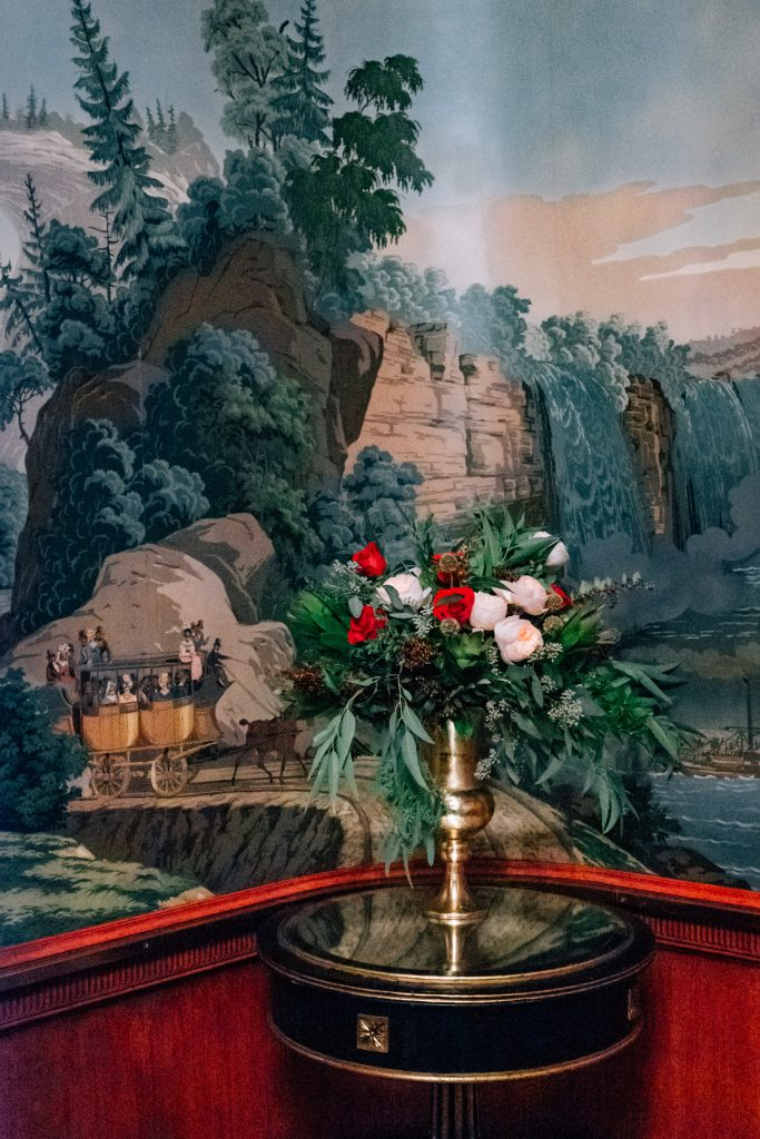 Painted wallpaper in the Independence Room of the Palace Arms restaurant