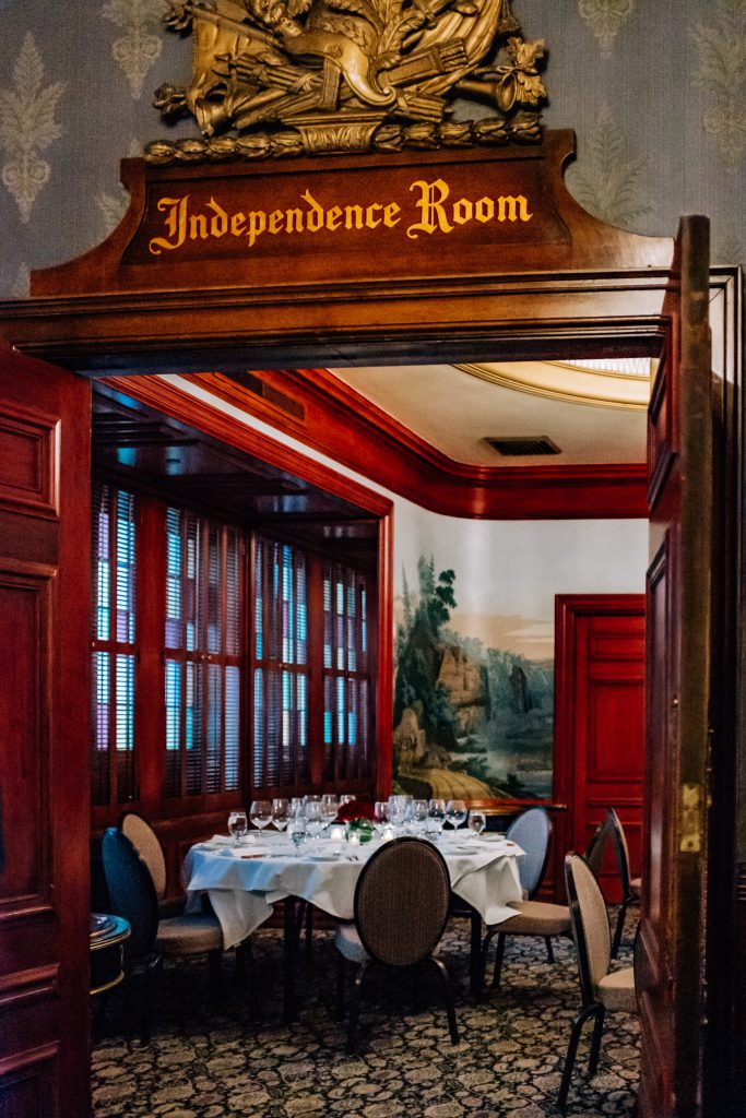 Independence Room of the Palace Arms restaurant