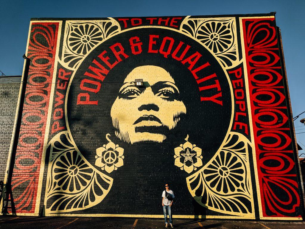 Shepard Fairey mural in RiNo