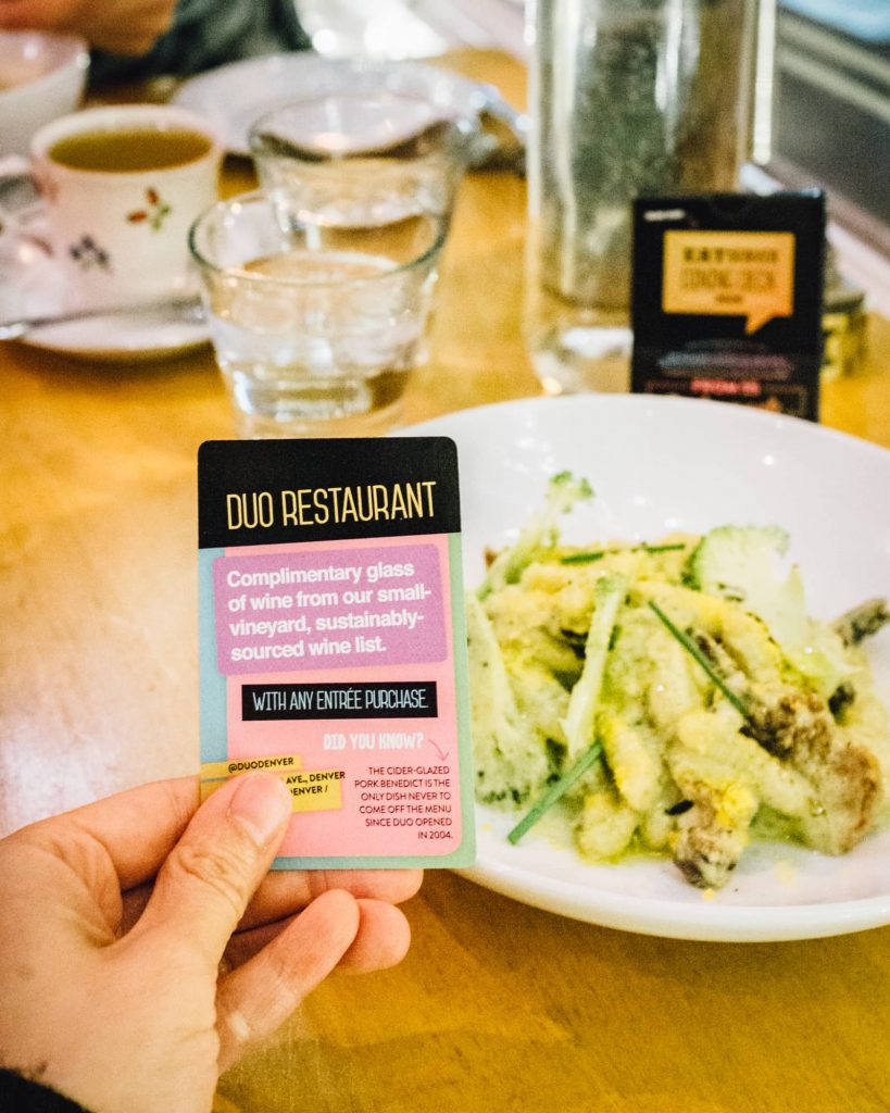 2020 EatDenver deck card for Duo Restaurant