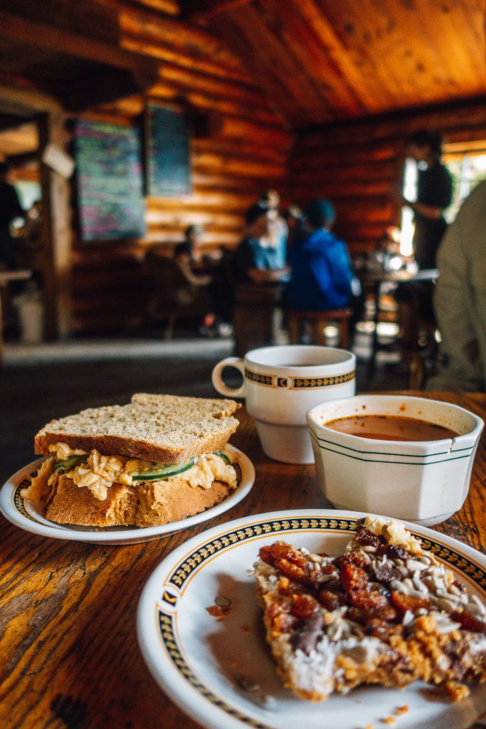Hummus sandwich and Mountain bar at Agnes Lake Tea House