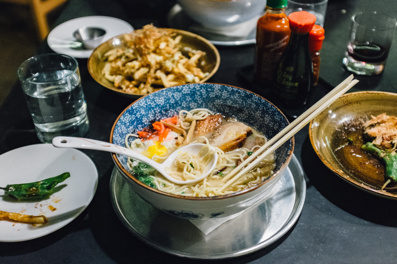 Osaka ramen spread of food