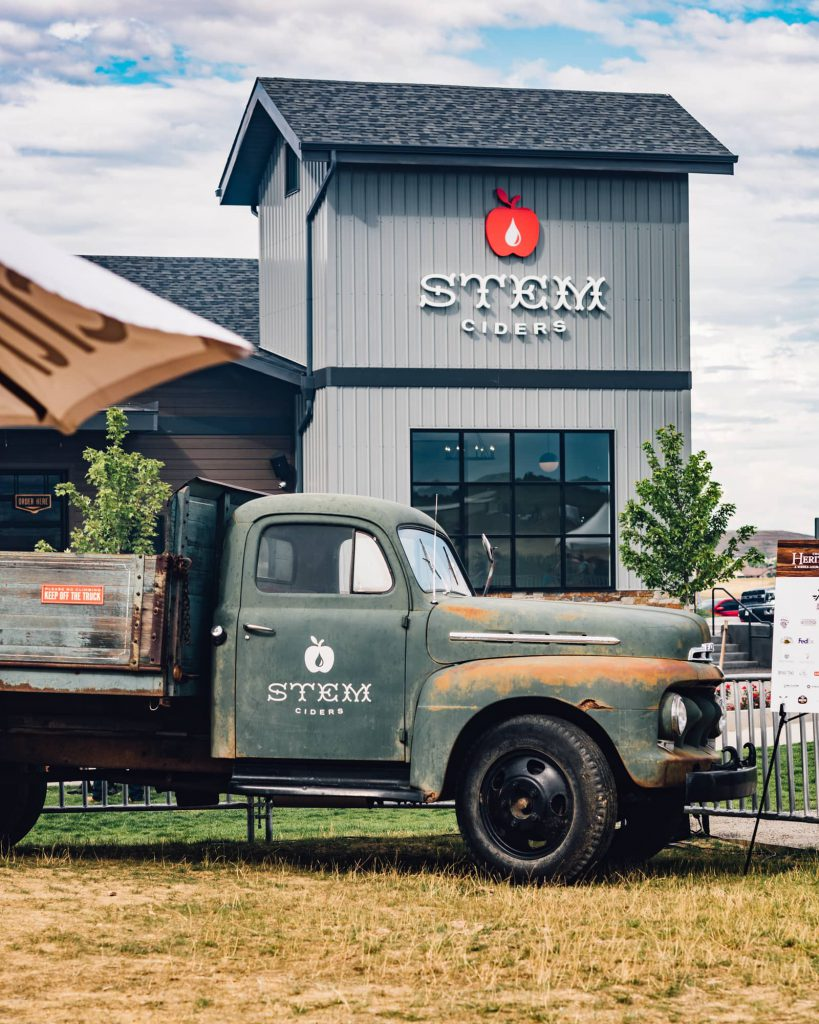 Stem Ciders truck in front of Acreage