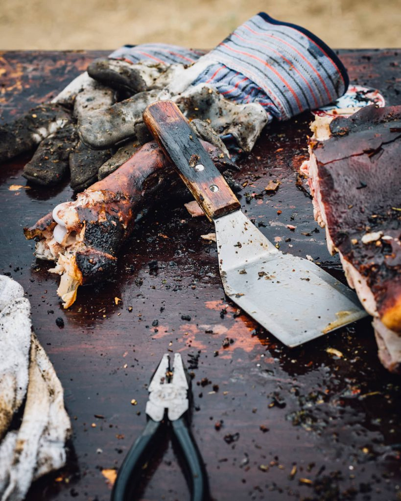 Meat pliers, spatula at Heritage Fire