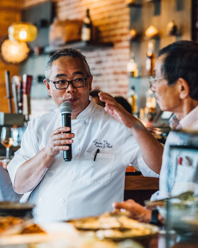 Yasu Kizaki speaks at Ototo Japanese home cooking dinner