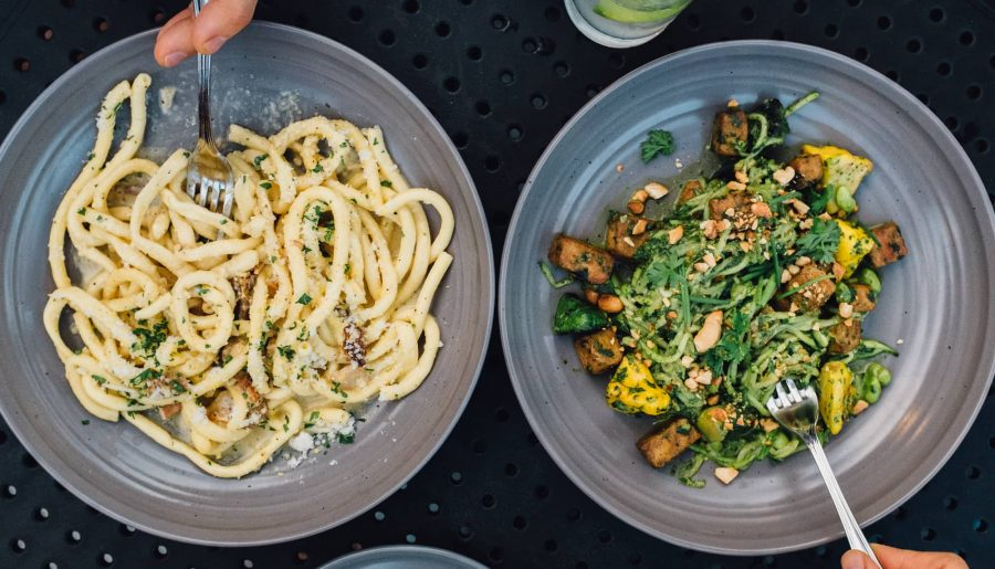 Bucatini pasta and zoodles at American Elm