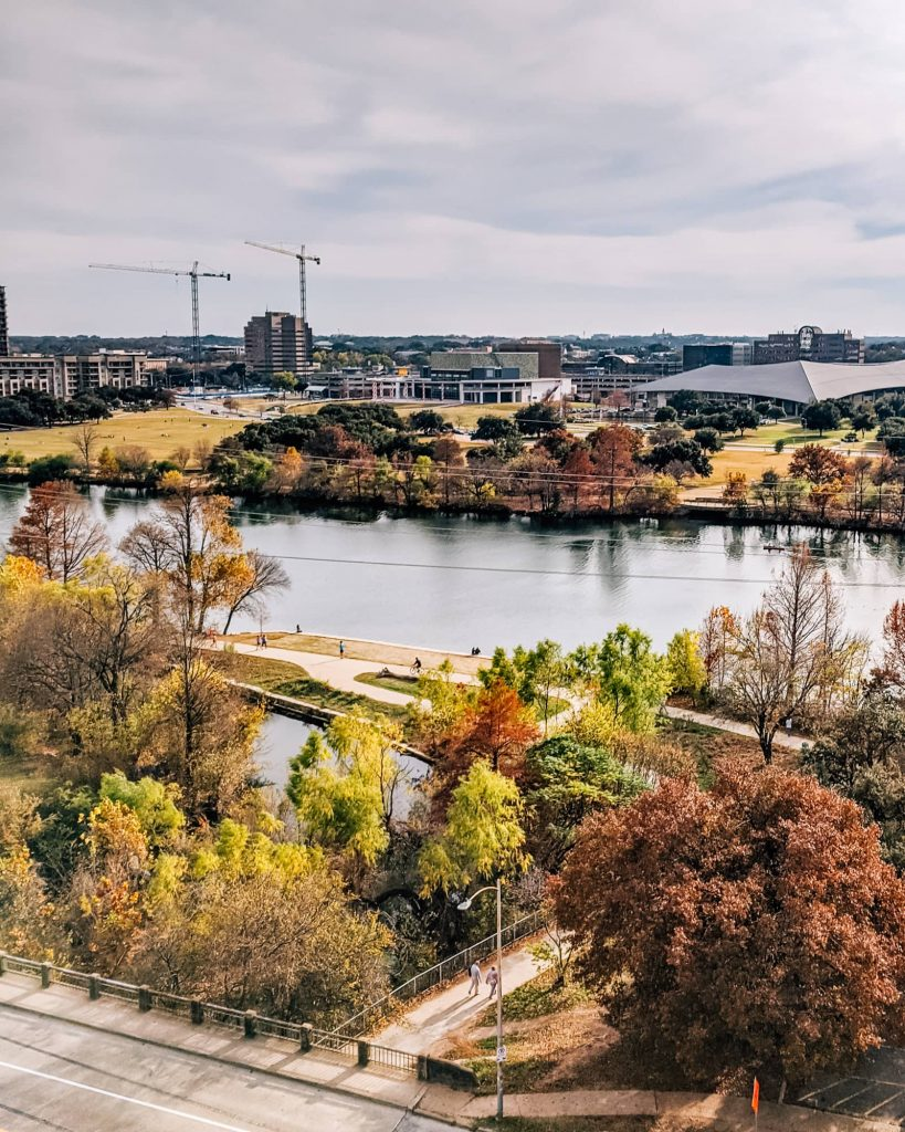 View of Lady Bird Lake from the Austin Central Library roofdeck