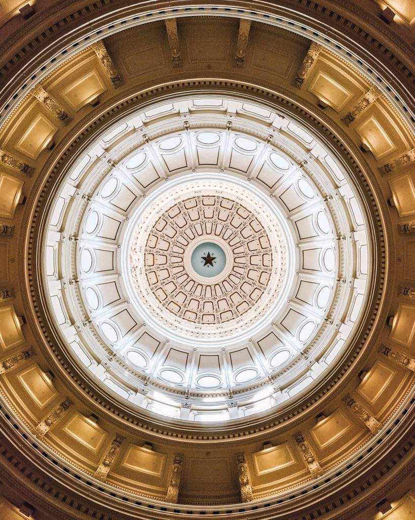 View of the dome at the Texas State Capitol