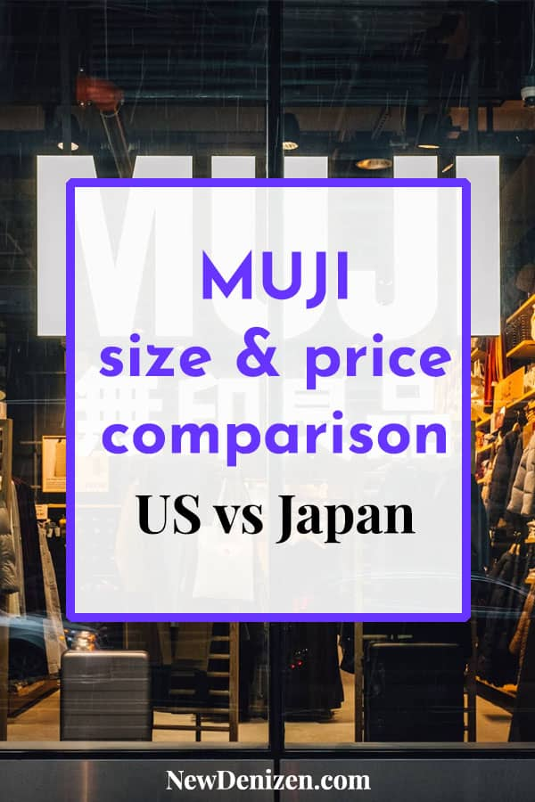 MUJI size and price comparison US vs Japan pin