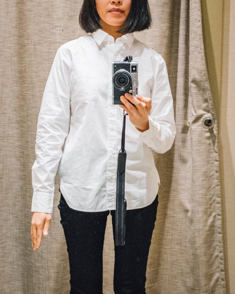 Wearing the Japan XS Muji shirt