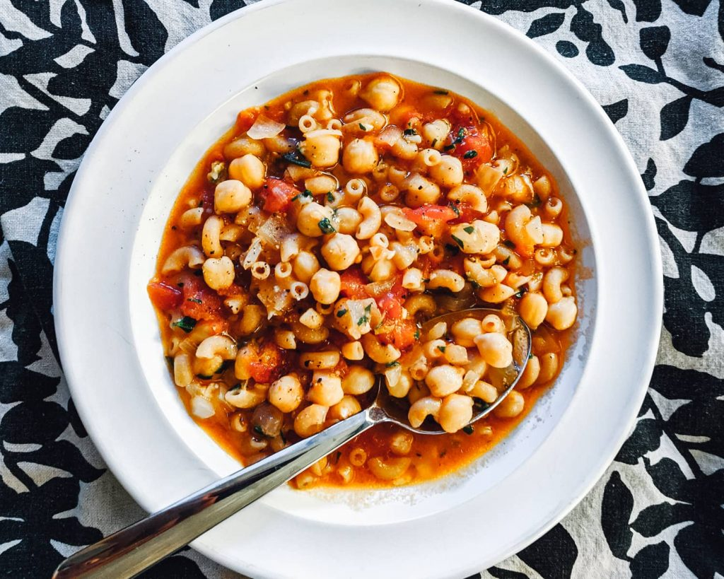 Brothy Pasta with Chickpeas