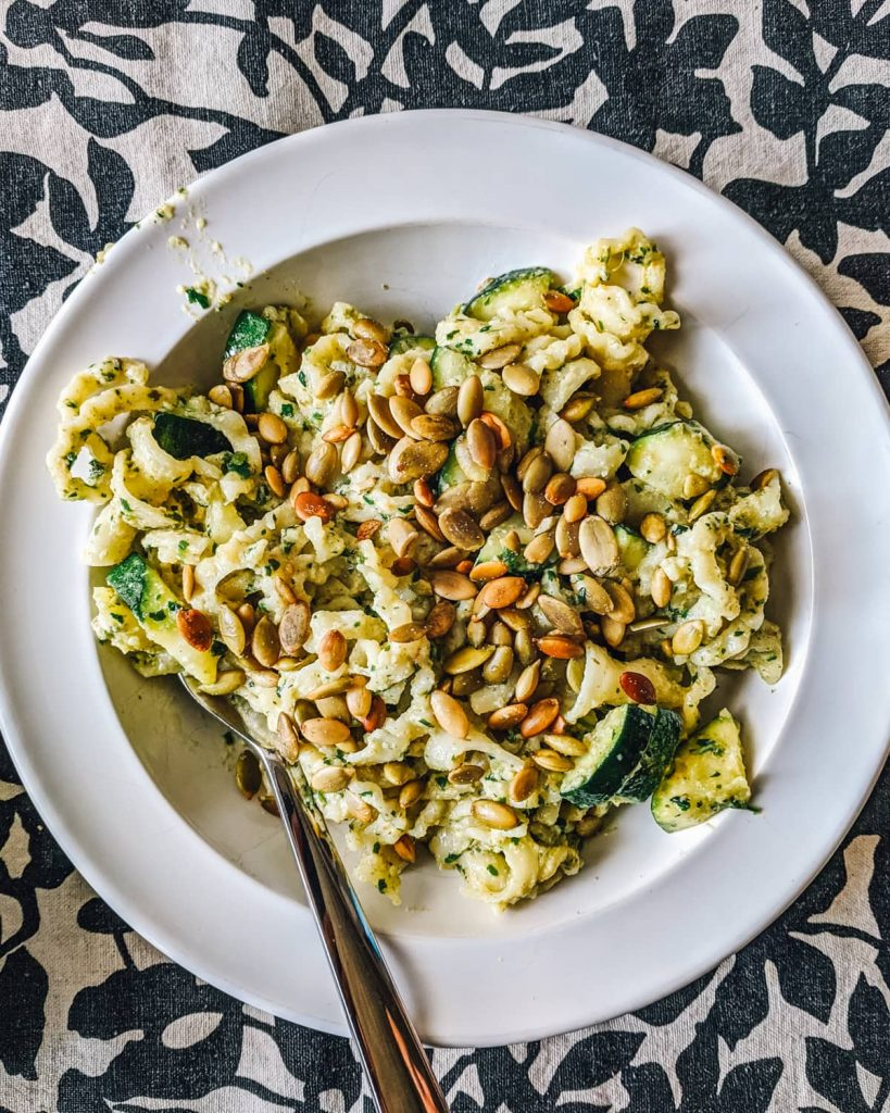 Zucchini Pasta with Cilantro Pesto