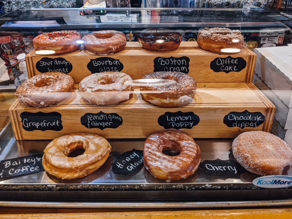 Case of donuts at Berkeley Donuts